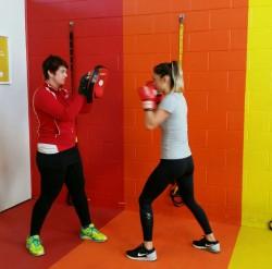 Trainer Lauren Dickenson boxing